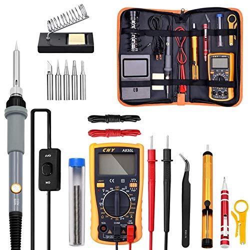 ZHQHYQHHX Elektrische Lötkolben Kit 220V-110V 60W Schweißen Löt- Rework Station-Hitze-Bleistift-Reparatur-Werkzeuge (Color : Grau, Plug Type : AU)