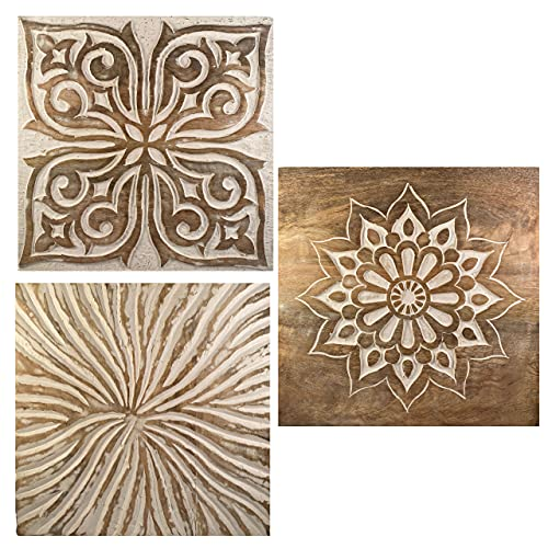 """Carved wood wall decor - 3 x gorgeous rustic wall decor plaques/panels 12"""" x 12"""" - Stunning set of 3 hand carved wood wall art for your living room or bedroom - Solid wooden rustic farmhouse wall art"""