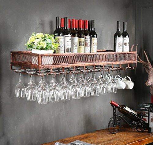 FAFZ Porta Bicchiere di Vetro Industriale Appeso portabicchieri in Vetro Porta Bicchiere di Vino Creativo Appeso Ristorante Cornice in Ferro Appeso Vino Nero/Bronzo
