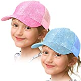 Geyoga Girls Ponytail Hat Glitter Baseball Cap with High Bun Messy Ponytail Hole (Pink, Sky Blue, 2)