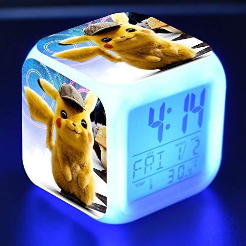 JXAA Reloj Despertador Digital para niños, Juguete de Dibujos Animados líder, Reloj de Escritorio Brillante Colorido, luz de Despertador