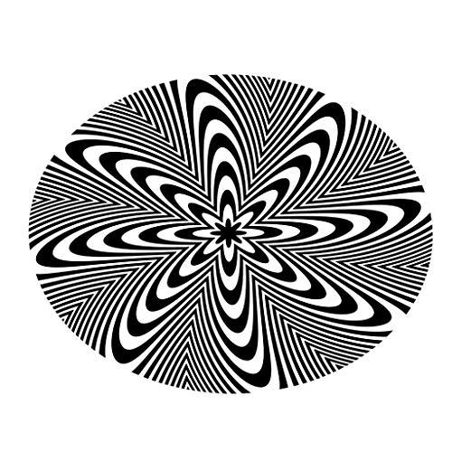 Mode Géométrique Vision Disordered Line Flannel Anti-Slip Ronde Accueil Décoratif Tapis, 60x60cm par Anliyou