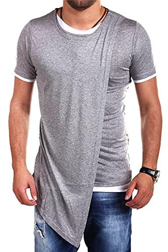Shirt Hombre Moderna Urbana Personalidad Moda Dos En Uno Diseño Hombre Casuales Camisa Verano Básico Cuello Redondo Slim Fit Manga Corta Casual Transpirable Camiseta A-Grey XL