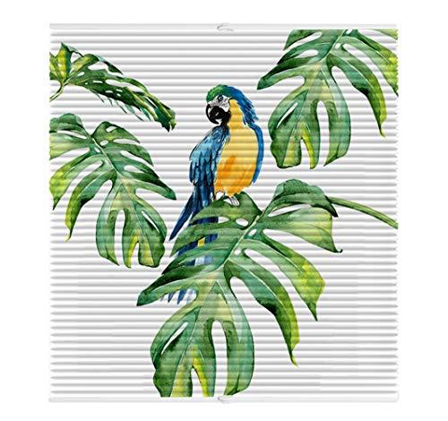 Liveinu Plissee Faltrollo mit Bienenwabe Ohne Bohren mit Klemmträger Thermo-Plissee Blickdicht für Fenster und Tür Sichtschutz und Sonnenschutz 55x200cm Tropische Pflanze 17