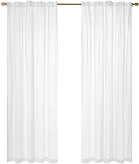 AKASKARI レースカーテン カーテン 遮光カーテン 2枚組 ドレープカーテン UVカットカーテン 目隠し 防音 遮音 防寒 遮光 保温 シンプル 無地 (レースカーテン, 幅100cm丈178cm)