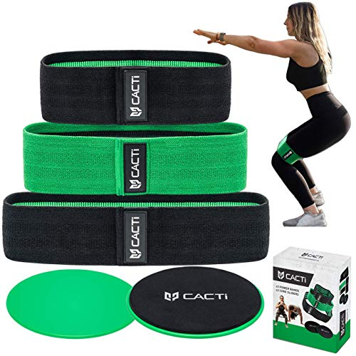 Fabric Resistance Bands & Core Sliders Exercise Set - 3 Booty Bands & 2 Strength Slides for Legs, Butt, Hips, Glutes, Abs, Shoulders & Arms - Non Slip & Non-Rolling (Bands & Sliders) (Green)