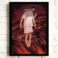 ポスター アートポスター おしゃれ Billie Eilish (10) A3 映画額縁のある絵 木製の枠 モダン 42cm x 30cm フレーム ブラック