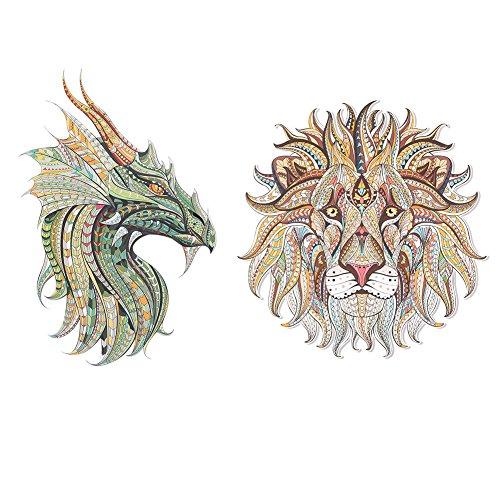 2 Unids Pegatinas de Transferencia 3D Hechas A Mano Surtido de Estilos de Animales Parches de Decoración para Ropa Chaquetas Mochilas Vaqueros Parches(León de oro + Dragón azul)