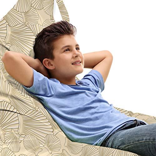 ABAKUHAUS Shells Unicorn Toy Bag Lounger Stuhl, Interlacing Clams Motiv, Hochleistungskuscheltieraufbewahrung mit Griff, Caramel Beige und Tan