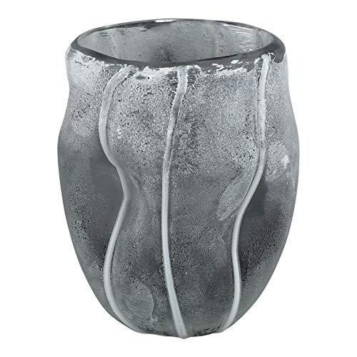 PTMD decoratieve vaas bloemenvaas linder glas Bombey Grey small in Frozen Design - Afmetingen: 11.5 x 11.5 x 9.5 cm