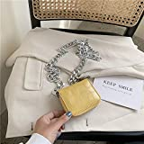 Mdsfe Patrón de cocodrilo Mini Flap Crossbody Bolsa 2020 Verano Nueva Calidad de Cuero Diseñador de la Mujer Bolso Cadena Hombro Messenger Bag-Yellow, 10 X 2 X 9 CM
