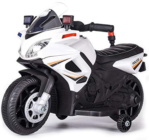 kid go Moto Elettrica per Bambini 6V Police Polizia Bianca