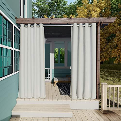 Clothink Outdoor Vorhänge Aussenvorhang Garten Verdunkelung Outdoor Gardinen 132x305cm(B x H) Grau-Weiß Blickdicht Winddicht Wasserabweisend Sichtschutz Sonnenschutz UVschutz
