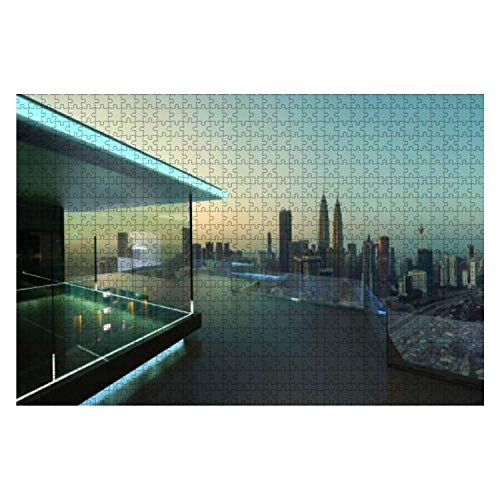 3D Rendering of a Modern Glass Balcony with City Skyline Real 1000 Piece Wooden Jigsaw Puzzle DIY Children Educational Puzzles Adult Decompression Gift Creative Games Toys Puzzles Home Decor