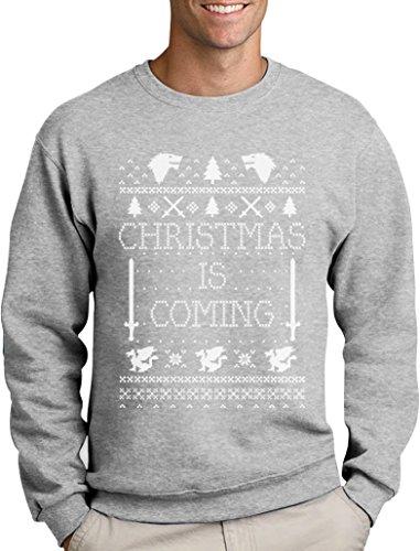 Green Turtle T-Shirts Christmas is Coming - Weihnachtspullover Männer für GOT Fans Sweatshirt Medium Grau
