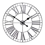 Growsun 32inch Large Wall Clock Pure Metal Heavy Duty Home Decor Farmhouse Living Room Decoration,Black