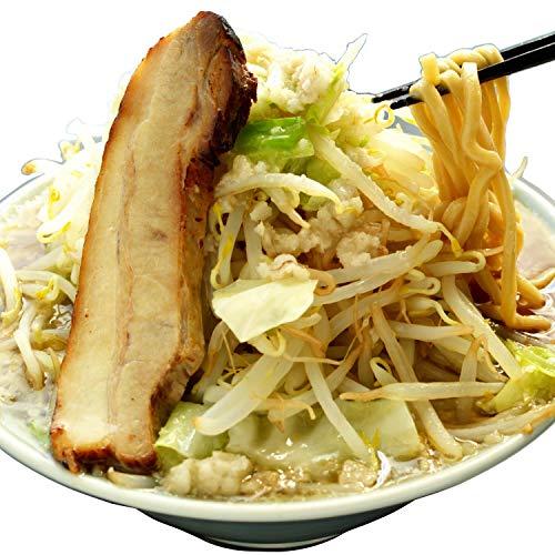 二郎系 超極太 オーション生麺(200g 冷凍)ラーメン つけ麺 [ごわごわ・ワシワシ食感] 麺くる (麺&ニンニク豚醤油スープ, 12食)