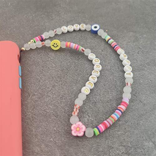 ASDFG Elegante Flores Campana Llaveros Cordón Moda Sonrisa Letras Correa para teléfono móvil