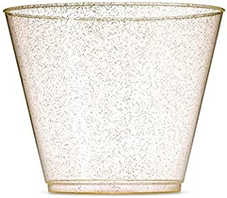 100 Gold Glitter Plastic Cups 9 Oz Gold Glitter Plastic Cups, Gold Glitter Tumblers, 9 Oz Clear Gold Glitter Cups Fancy Disposable Party Cups Elegant Gold Glitter Wedding Cups, Well Packed