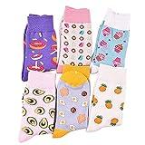 MIWNX 5 Pares Novedad Donuts de Aguacate Calcetines Lindos Mujeres Calcetines Divertidos de Postre de Frutas Calcetines de algodón Casuales Femeninos