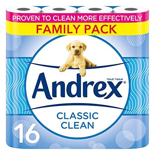 Andrex Toilet Roll - Classic Clean Toilet Paper, 16 Toilet Rolls