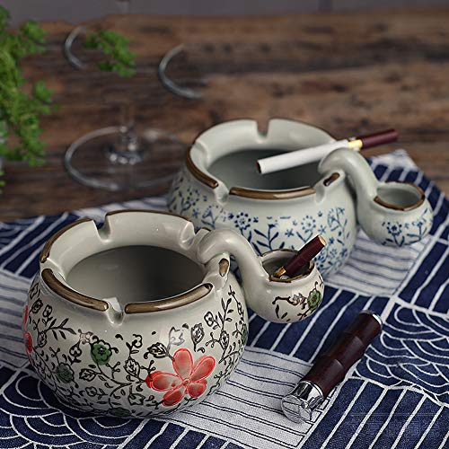 Retro keramische asbak met wastafel asbak Hotel benodigdheden decoratie asbak Cup Rode Bloem
