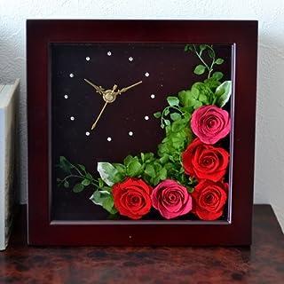 【Eclaire Flower Design】プリザーブドフラワー フラワー時計 ブラウン