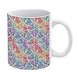 Tamengi Coffee Mug Funny Cute Graphic Floral Penis Rainbow Ceramic Mugs Tea Cup Novelty Gift 15oz Made In USA