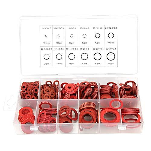 600pcs Unterlegscheibe sortiert,Faserunterlegscheibe Unterlegscheiben-Kit,rote Stahl-Papierscheiben Isolierscheibe, 12 Größen,mit Box(600pcs)