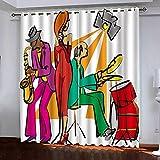 Gabapipa® Juego de 2 Cortinas Banda de Jazz 117x229cm Cortinas Opacas para Ventanas Salon con Ojales, Cortinas Termicas Aislantes Frio Y Calor