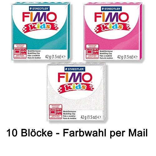Fimo Staedtler Knete Kids Modelliermasse 10 Blöcke a 42g Farbauswahl per Mail, ofenhärtend