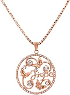 Bevilles Rose Stainless Steel Crystal Butterfly Disc Necklace Pendant
