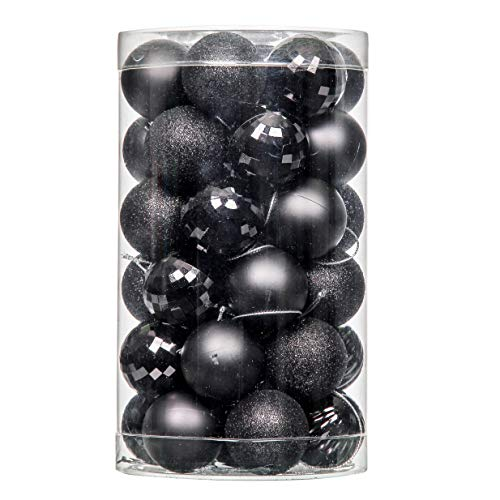 QinYing 4cm Black 41pcs Shatterproof Christmas Tree Hanging Balls Christmas Balls Ornaments for Holiday Party Baubles Decoration Set with Hang Rope