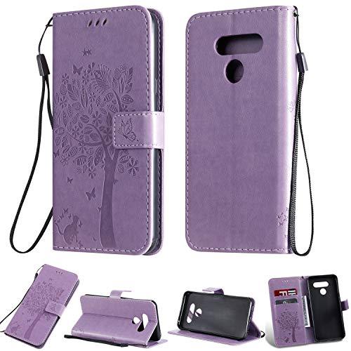Zchen LG Q60 Hülle, LG K50 Hülle, Kunstleder Portemonnaie Handy-Schutzhülle Book Flip Design Klapphülle Etui Tasche für LG Q60, LG K50 (Katze-Lila)