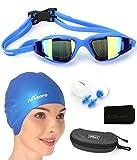Firesara Swim Cap Swim Goggles,3D Ergonomic Silicone Swimming Cap for Women Men