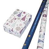 Geschenkpapier Weihnachten Set 2 Rollen (75 x 150 cm), weihnachtliches Schrift-Design mit gold-Sternen + Eulen in blau-silber mit farbigem Glitter. Für Weihnachten, Kinder. Edel und hochwertig.