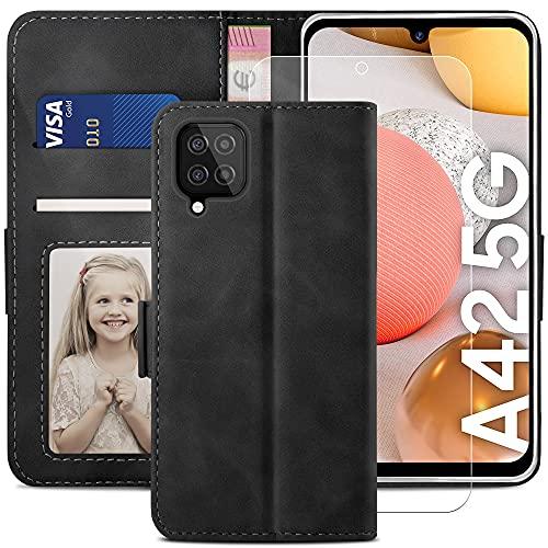 YATWIN Funda Samsung Galaxy A42, Cuero Premium Flip Folio Carcasa para Samsung A42, Bloqueo RFID, Soporte Plegable, Ranura para Tarjeta, Cierre Magnético, Compatible para Galaxy A42 - Negro