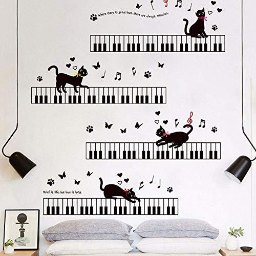 Schwarze Katze Klavier Musik Charaktere Wandaufkleber Kreative Kunst Für Kinder Kinder Kindergarten Möbel Geschenk Wohnkultur Diy 60 * 90Cm