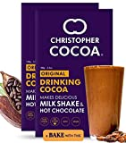 Christopher Cocoa, Drinking Chocolate Cocoa Powder, Dark No Sugar, 100g Pack of 2