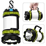 Wsky Rechargeable Camping Lantern Flashlight, 6 Modes, 3600mAh Power Bank, Two Way Hook of Hanging, Perfect for Camping, Hiking,...