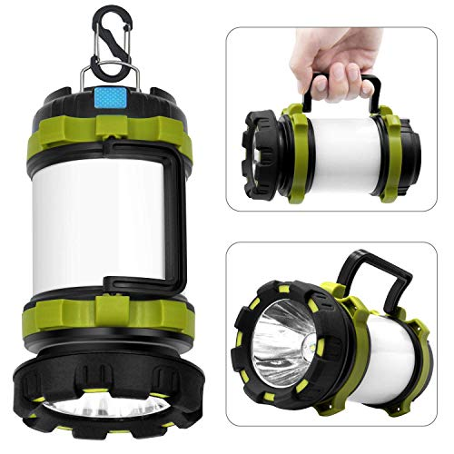 Wsky Rechargeable Camping Lantern Flashlight, 6 Modes, 3600mAh Power Bank, Two Way Hook of Hanging, Perfect for Camping, Hiking, Outdoor Recreations, USB Charging Cable Included…