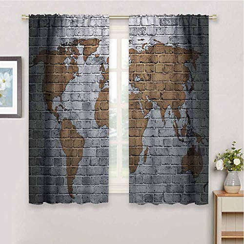 Wanderlust Decor Window Curtain World Map On Old Brick Wall Countries Continents Creative Aged Vintage Rough 2 Panel Sets, W55 x L63 Inch,