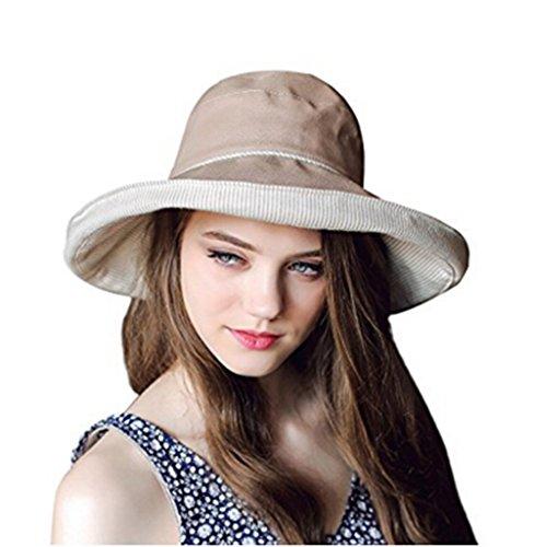 Damen Sommer Strand Hut Sonnenhut Roll up Schlapphut Bucket Hat Faltbarer Eimer Hut großer Rand Anti-UV Fischerhut