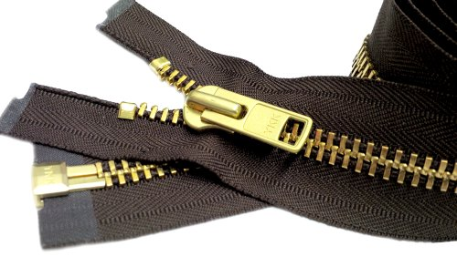 ZipperStop Wholesale Authorized Distributor YKK 26 Extra Heavy Duty Jacket Zipper (Special Custom) YKK #10 Brass Separating ~ Color 570 Sept. Brown (1 Zipper/Pack)