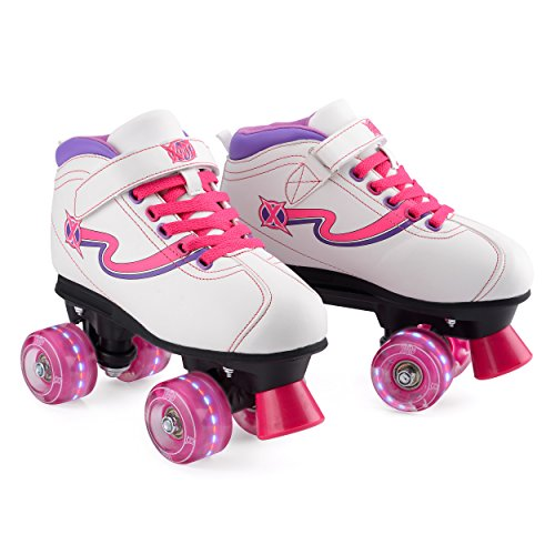 Xootz Disco Quad, Roller Skates with LED Wheels Patines con Ruedas, Rosa, 4