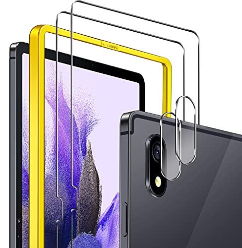 ivoler 2 Unidades Protector de Pantalla para Samsung Galaxy Tab S7 FE 12.4 Pulgadas (T730 / T736B) con Marco de Instalación Fácil y [2 Unidades] Protector de Lente de Cámara, Cristal Vidrio Templado