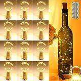AIGUOZER Lumières LED en liège, 12 lumières LED pour bouteilles de vin blanc chaud 2M, 20 guirlandes LED, batteries en fil de cuivre Pour la fête de Noël