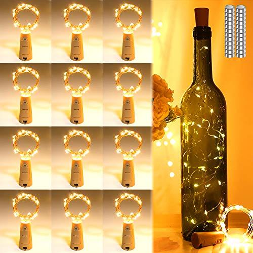 12 Stück LED Flaschen Licht Korken Warmweiß,AIGUOZER 20 LEDs 2M Flaschenlicht Lichterkette mit 36 Batterien(24 extra) Weinflasche Nacht Licht, für DIY Deko Weihnachten Party Urlaub