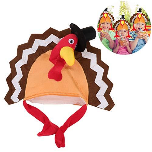 Gutyan Cappelli da Festa del Ringraziamento con Testa Cappello di Tacchino Cappello Adulto Costume Cappello di Tacchino