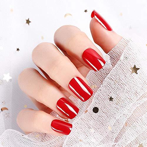 LIARTY 24pcs Künstliche Falsche Nägel Glatt Rot Acryl Volle Abdeckung Nägel Gefälschte Nägel Tipps Für Mädchen Frauen